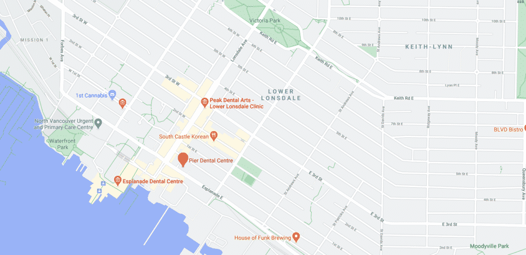 Dentist near me North Vancouver - Pier Dental google maps location